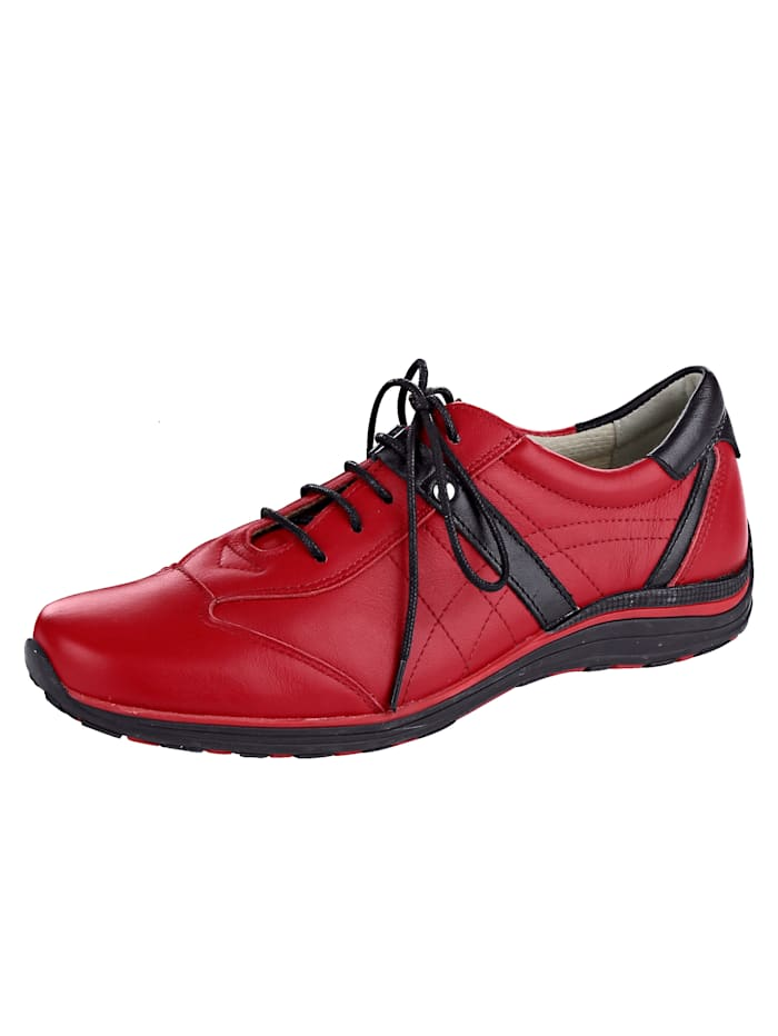 Naturläufer Lace-up shoes made of soft leather, Red