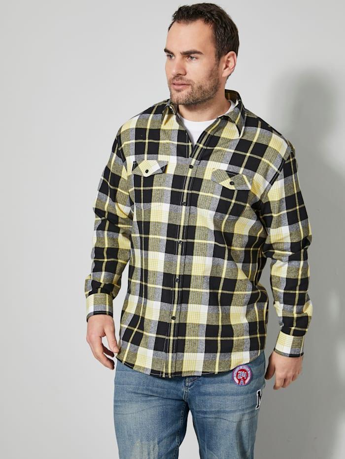 Men Plus Hemd mit Kent-Kragen, Schwarz/Weiß/Gelb