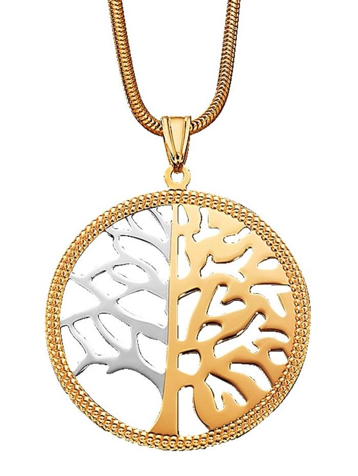 Anhänger Lebensbaum in Gelb- und Weißgold 375, Gelbgoldfarben/Weißgoldfarben