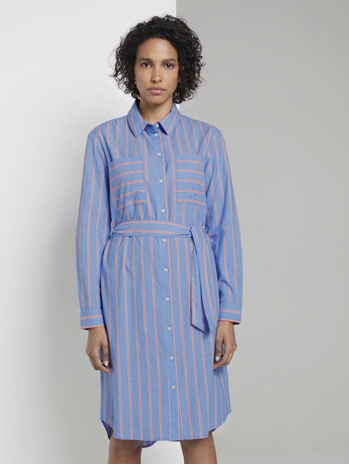 Tom Tailor mine to five Gestreiftes Hemdkleid mit Gürtel, blue white orange stripe
