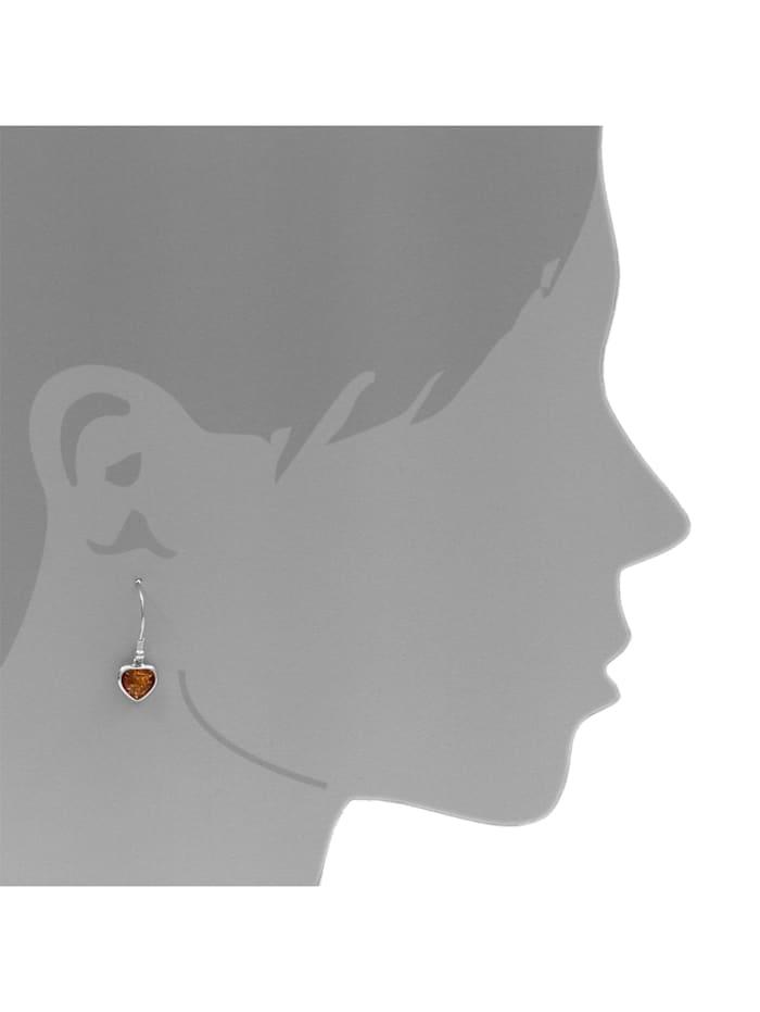 Ohrhänger - Herz 11 mm - Silber 925/000 - Bernstein