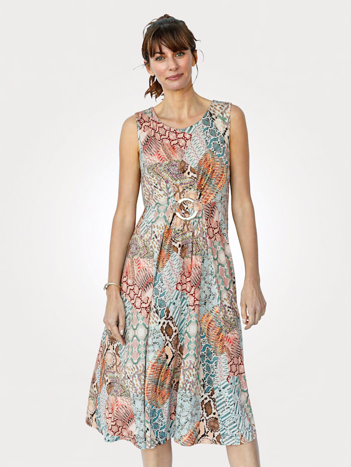 MONA Jersey dress in a colourful patchwork print, Ice Blue/Multi
