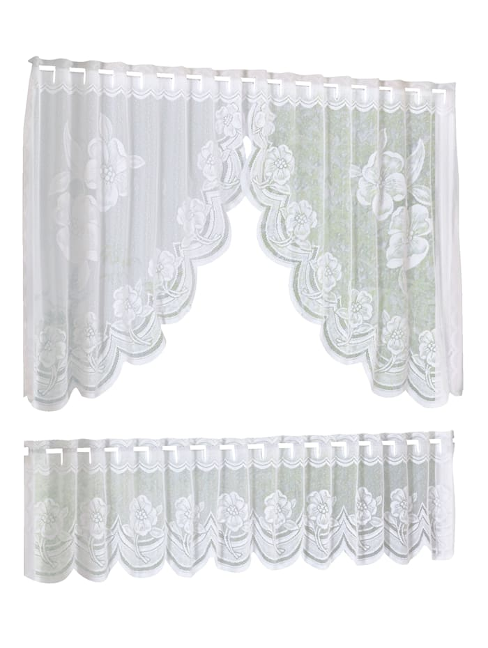 Home Wohnideen Voilage jacquard 'Roses', 2 pièces, Blanc