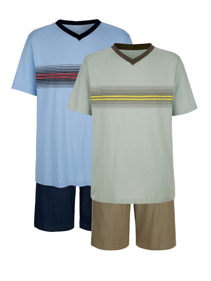 G Gregory Krátke pyžamo s prúžkami z farbených vlákien, Olivová/Svetlomodrá