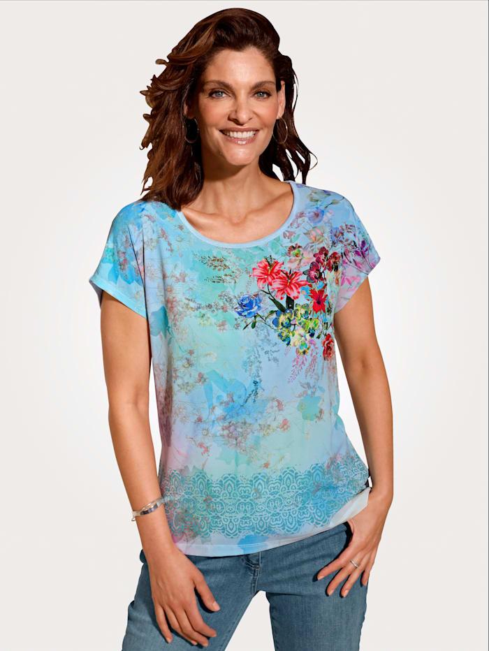 MONA Shirt mit überschnittener Schulter, Türkis/Mintgrün