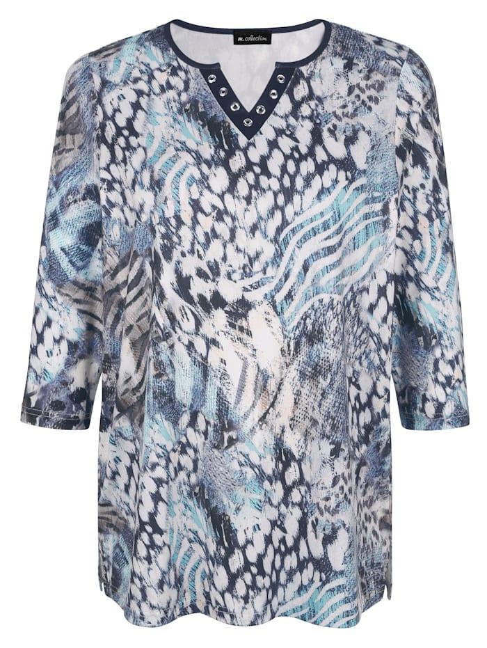 m. collection Shirt mit Animal-Druck, Beige/Blau