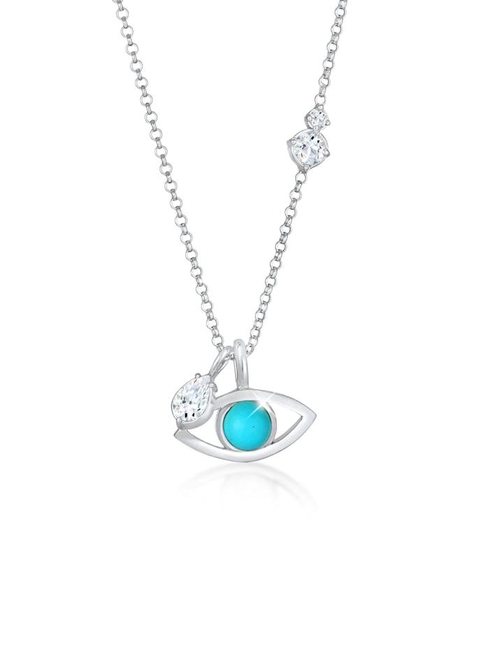 Elli Premium Halskette Evil Eye Türkis Solitär Topas Tropfen 925 Silber, Silber