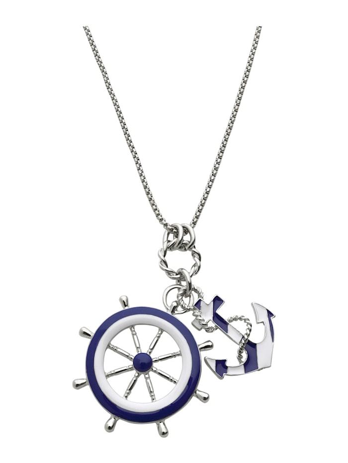 KLiNGEL Pendentif avec éléments d'inspiration marine + chaîne, Bleu