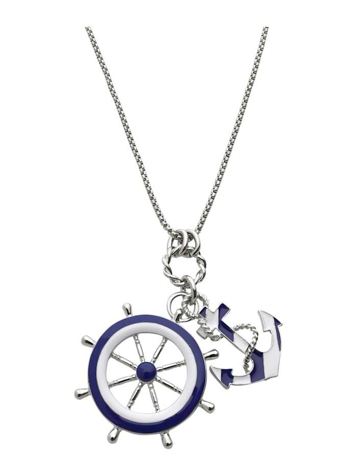 Pendant and chain with nautical-inspired design, Silver-Coloured