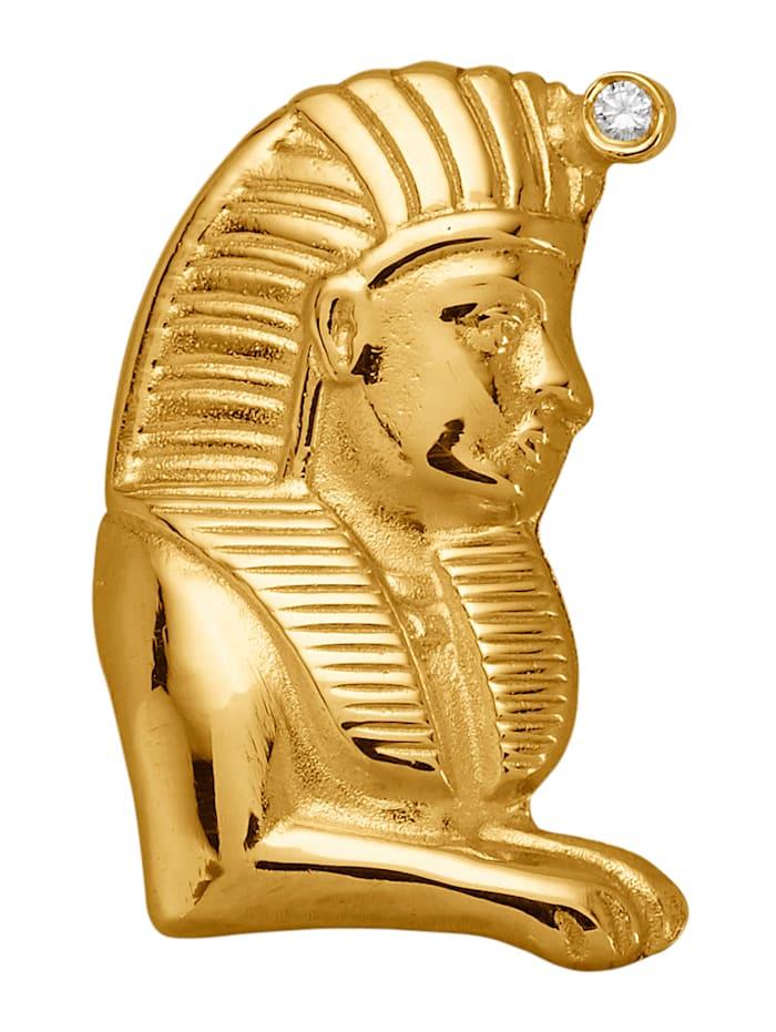 Ursula Christ Sphinx-Anhänger mit Diamant, Gelbgoldfarben