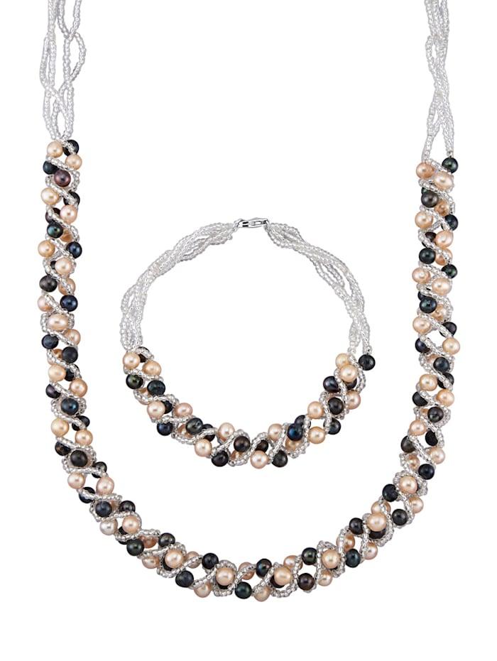 Parure de bijoux 2 pièces avec perles de culture d'eau douce, Multicolore