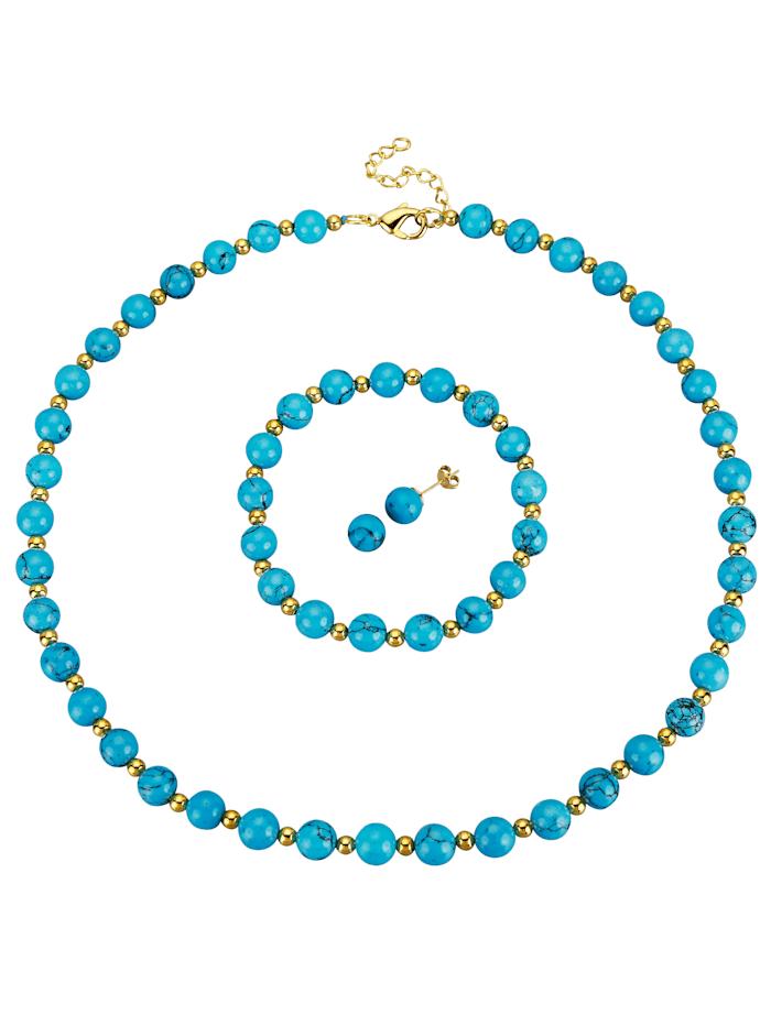 Parure bijoux, 3 pièces, Turquoise