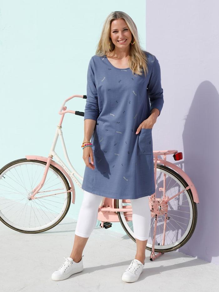 MIAMODA Kleid mit dezentem Wordingprint vorne, Blau