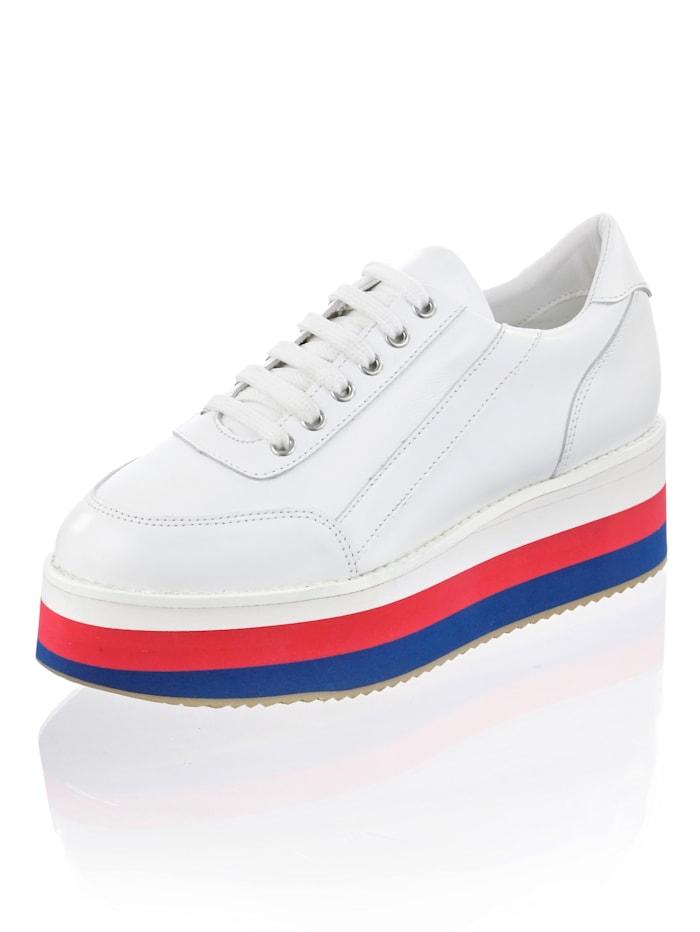 Alba Moda Sneaker met gestreepte zool, Wit/Rood/Blauw