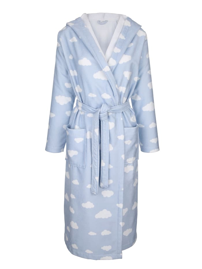 Dressing gown with a cloud print
