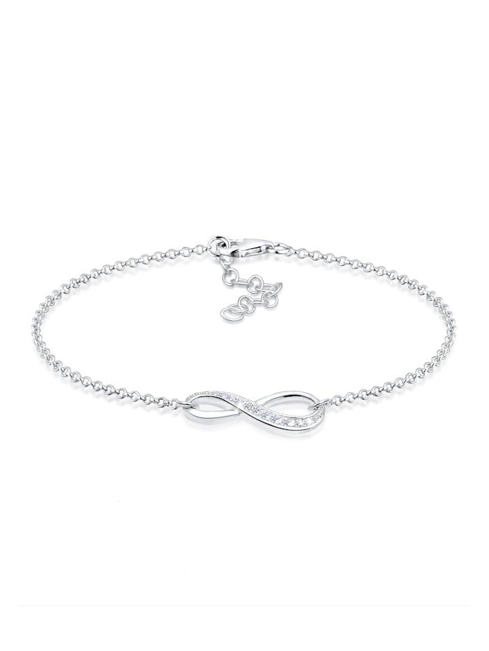 Elli Armband Infinity Symbol Endlos Zirkonia 925 Silber, Weiß