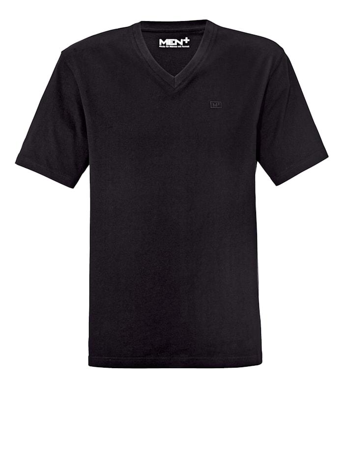 Men Plus Shirt met V-hals van zuiver katoen, Zwart