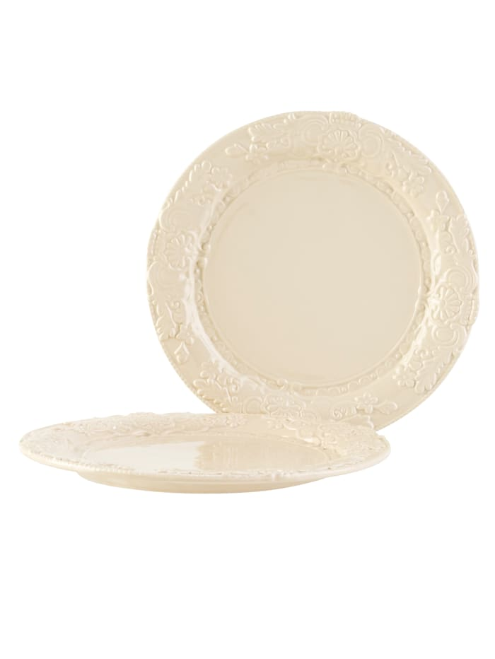 IMPRESSIONEN living Lot de 2 assiettes plates, Crème