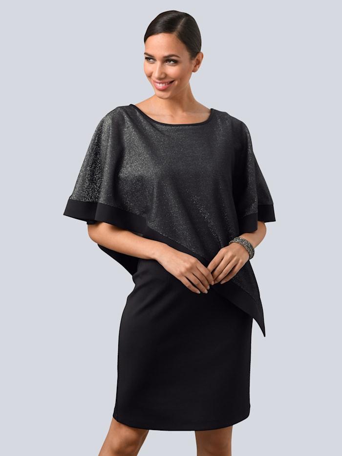 Alba Moda Kleid mit asymmetrischem Layer, Schwarz/Silberfarben