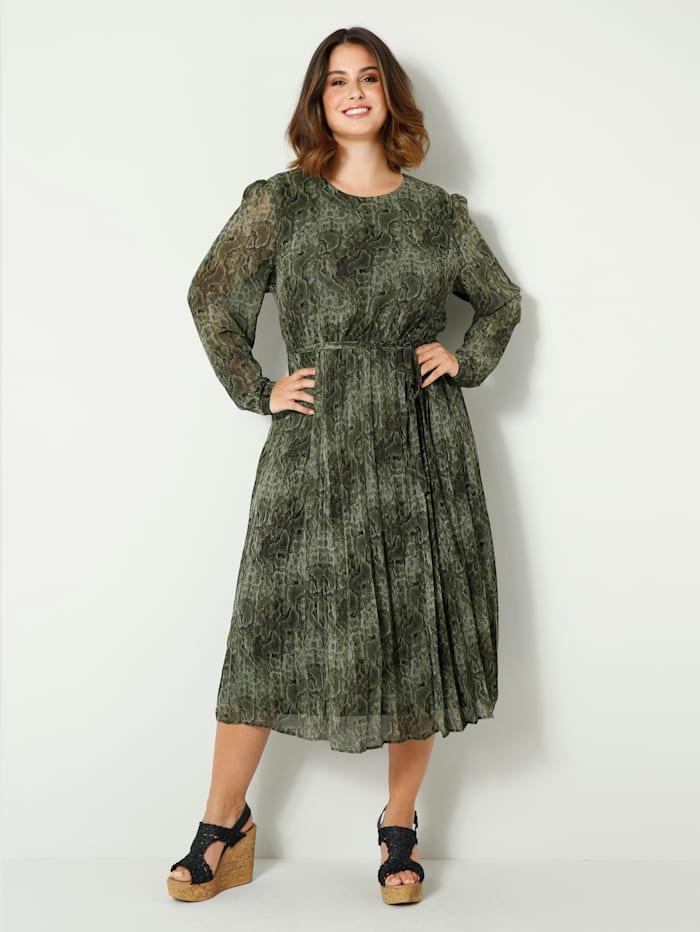 Sara Lindholm Robe longue avec jupe effet plissé, Vert/Noir