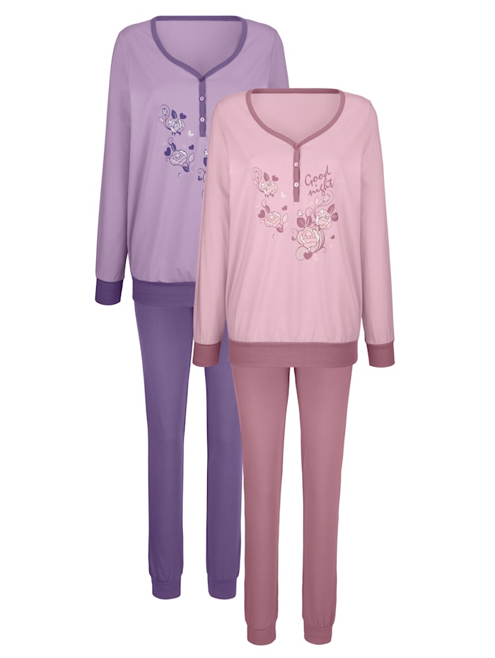 Harmony Schlafanzüge mit floralem Druckmotiv 2er Pack, rosé/flieder