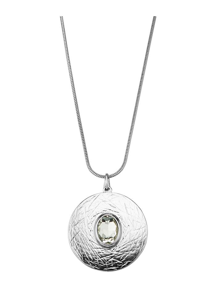 Pendentif à pierre de verre et chaîne, Coloris argent