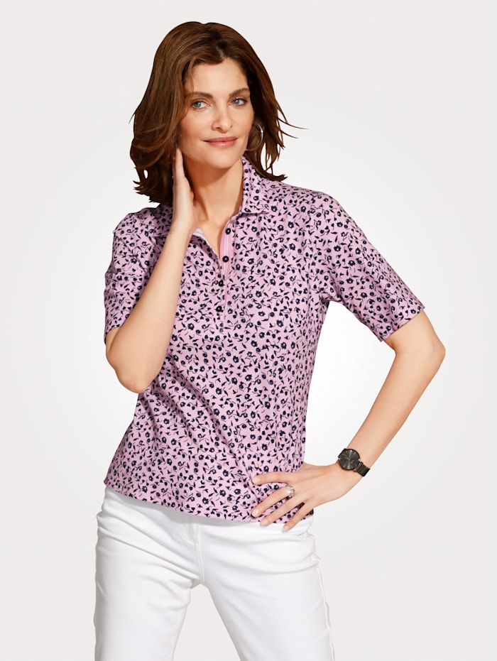 Rabe Poloshirt mit floralem Druckdessin, Rosé/Marineblau