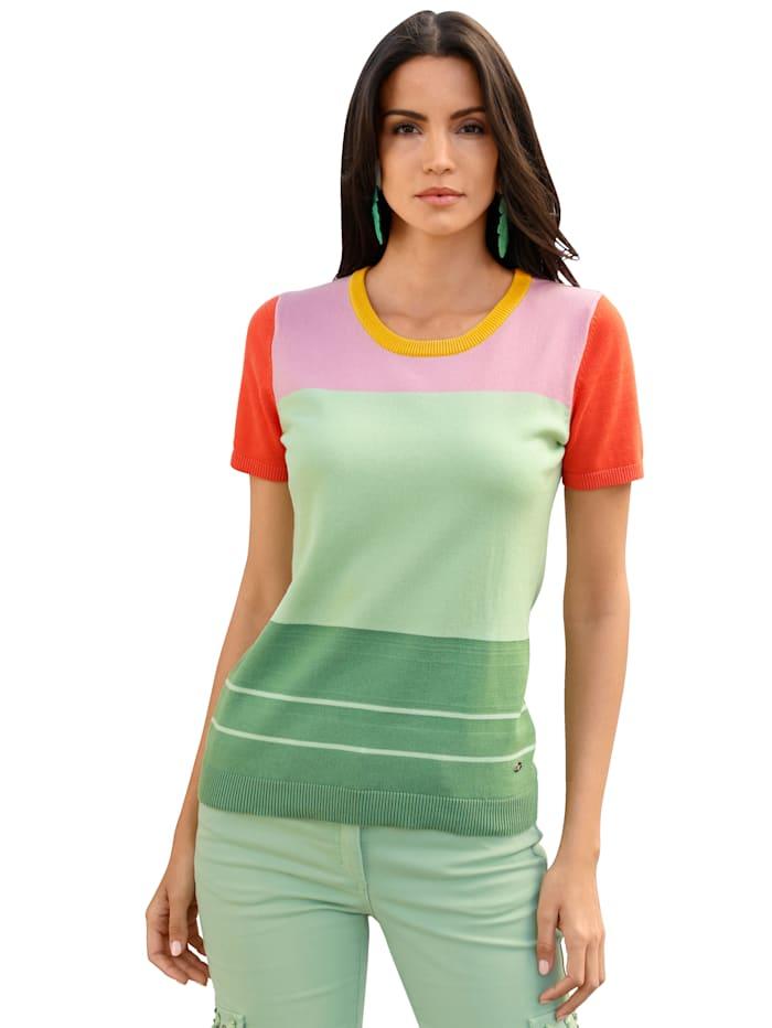 AMY VERMONT Pullover im Colorblocking-Dessin, Gelb/Pink/Mintgrün