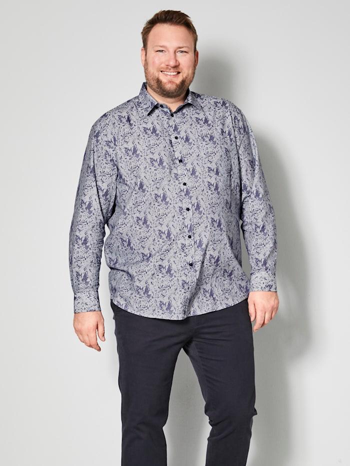 Men Plus Overhemd van zuiver katoen, Wit/Marine