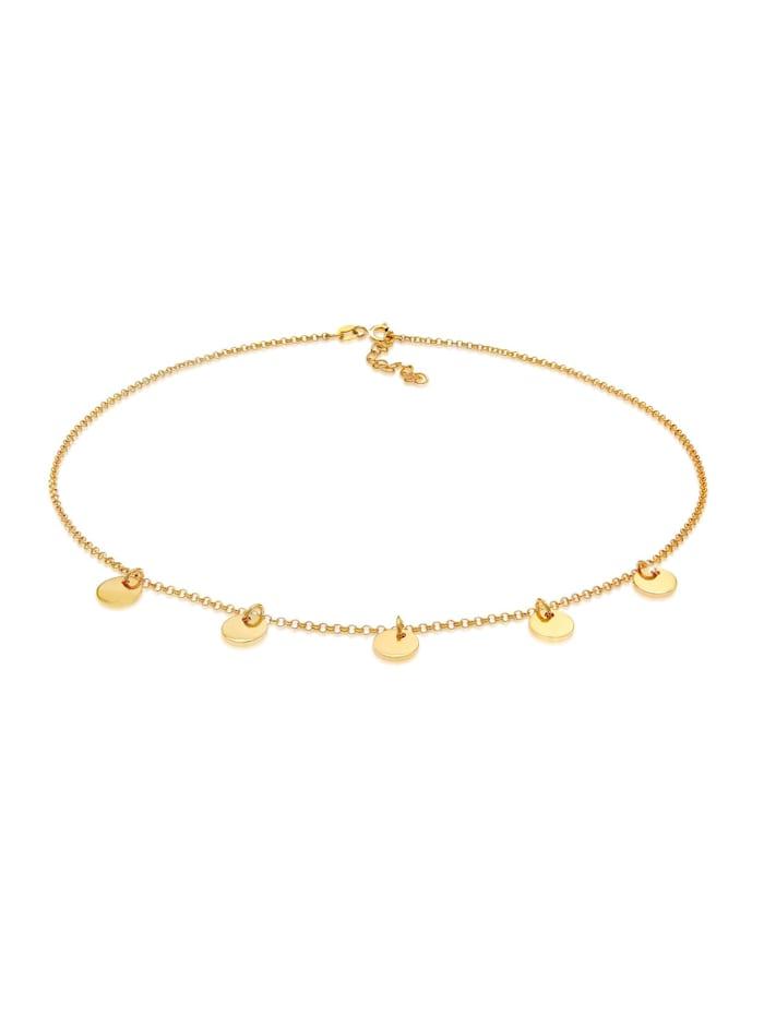 Elli Halskette Choker Kette Geo Plättchen Rund 925 Silber, Gold