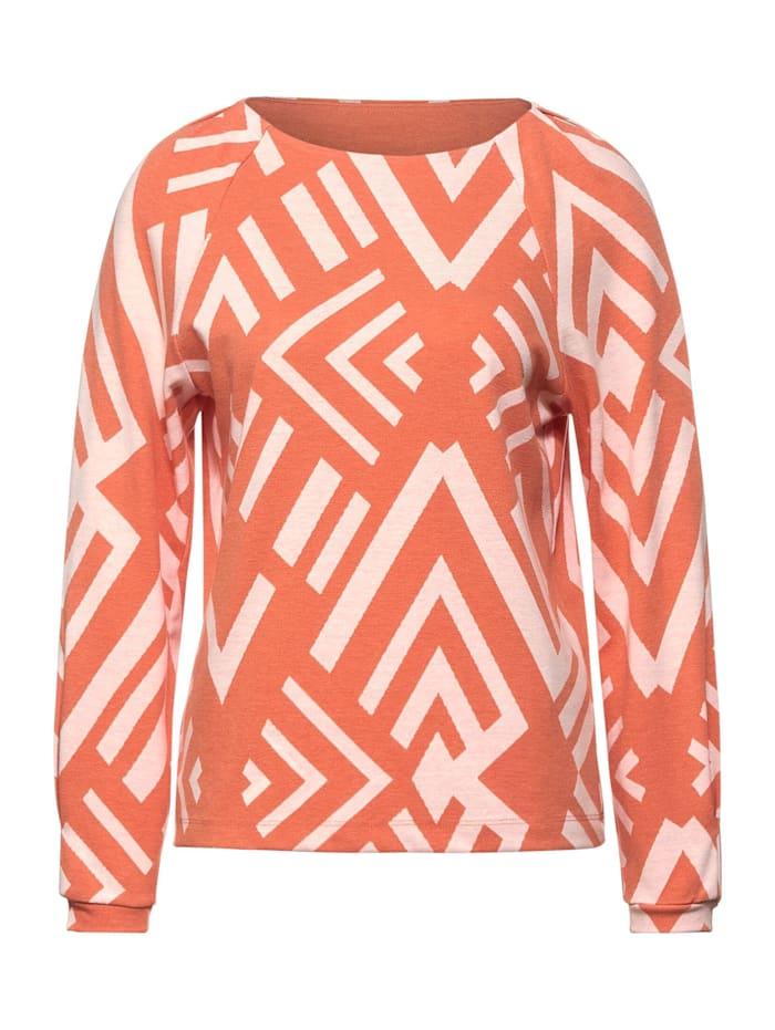 Street One Softes Shirt mit Muster, strong mandarine melange