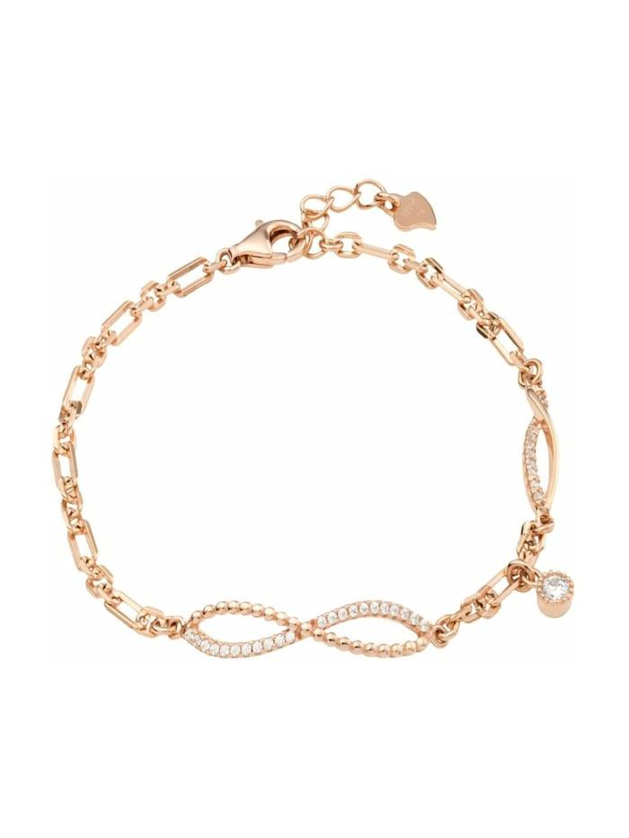 amor Armband für Damen, Silber 925 rosévergoldet, Zirkonia, Roségold
