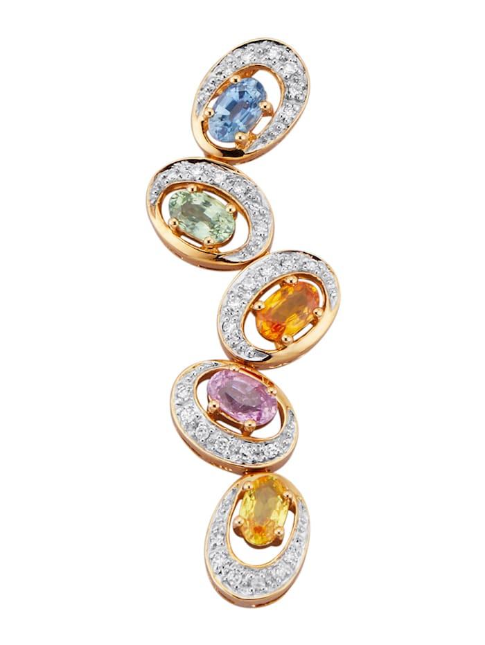 Diemer Farbstein Anhänger mit Saphiren und Diamanten, Multicolor