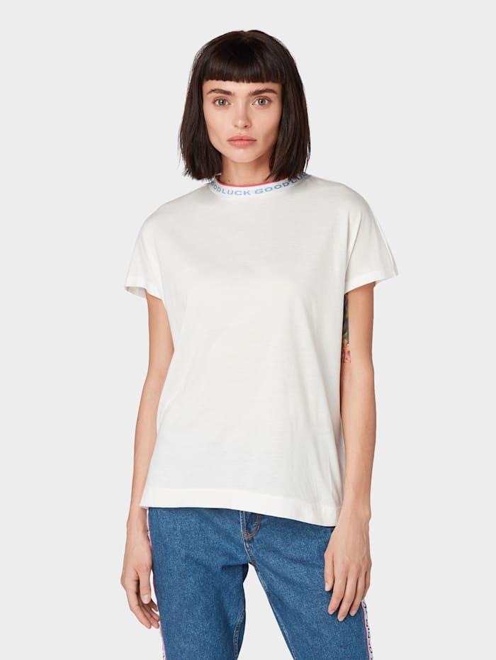 Tom Tailor Denim T-Shirt mit Kontrastblende, Off White