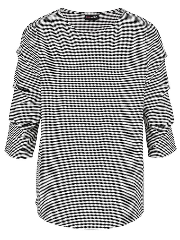 Shirt met aangerimpelde mouwen