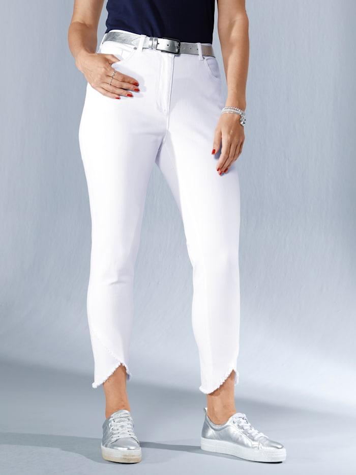 MIAMODA Jean à bas de jambe asymétrique et frangé, Blanc