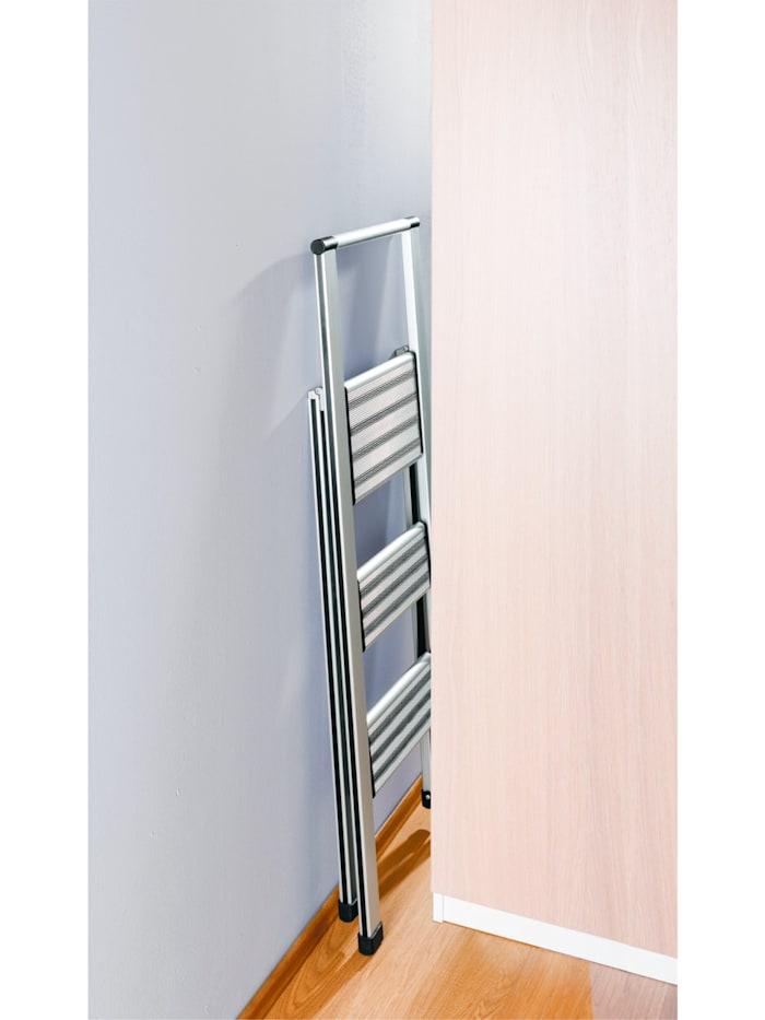 Alu-Design Klapptrittleiter 3-stufig Silber, rutschfeste Haushaltsleiter, Sicherheits-Stehleiter
