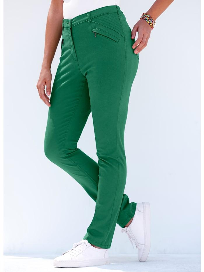 MIAMODA Hose mit Reißverschluss-Taschen seitlich, Grün