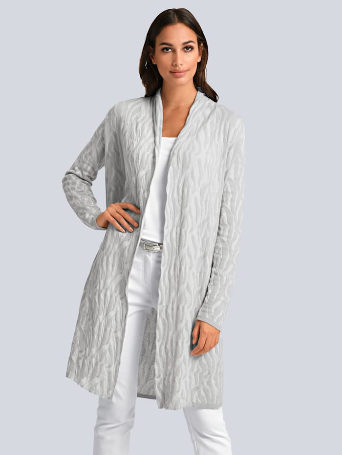 Alba Moda Strickjacke allover im Animal Dessin, Hellgrau/Weiß