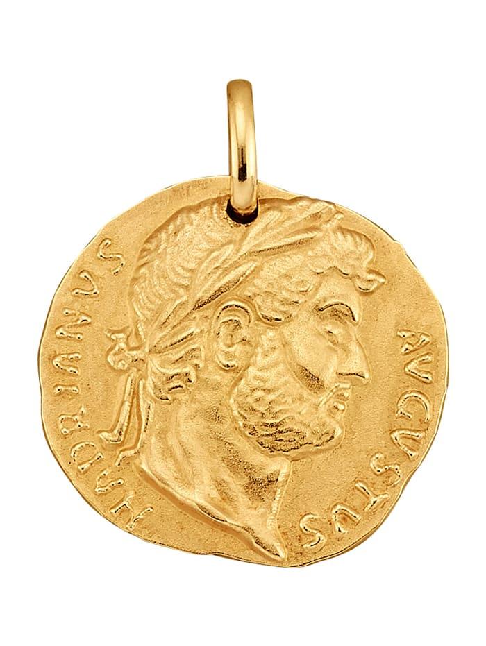 """Amara Gold Münz-Anhänger """"Augustus Hadrianus"""", Gelbgoldfarben"""