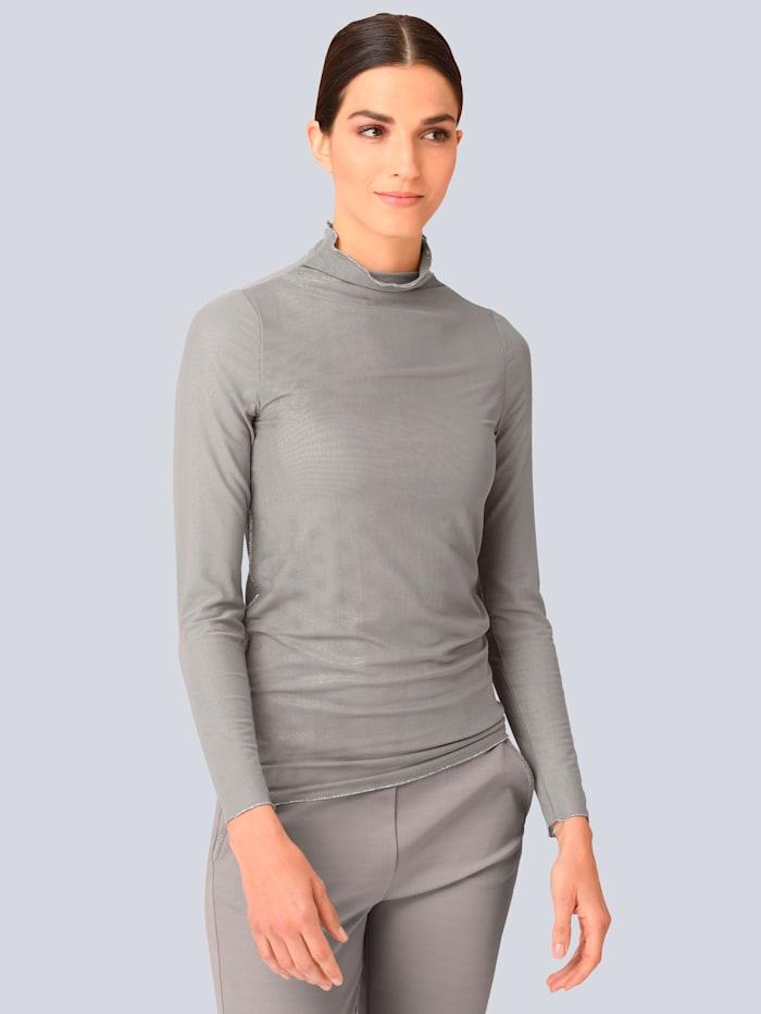 Alba Moda Rollkragenshirt in transparenter Mesh-Qualität, Taupe