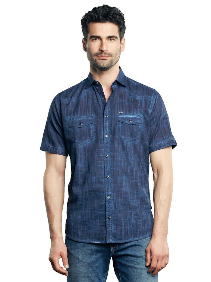 Engbers Kurzarm-Hemd aus Leinenmix, Marineblau