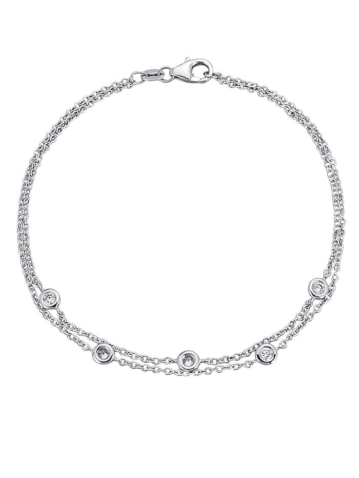 Diemer Diamant 2-rijige armband met briljanten, Witgoudkleur
