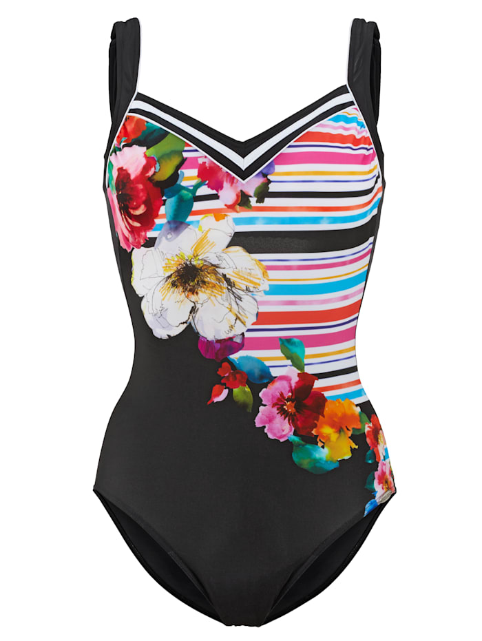 Badeanzug mit Blumen- und Streifendruck