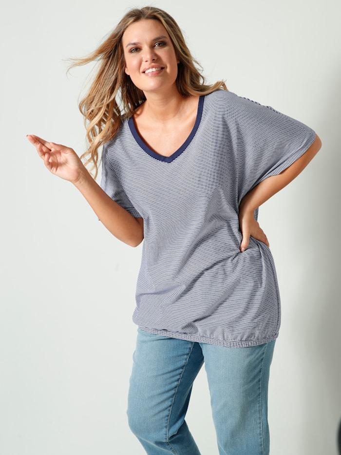 Janet & Joyce Shirt mit Gummizug am Saum, Marineblau/Weiß