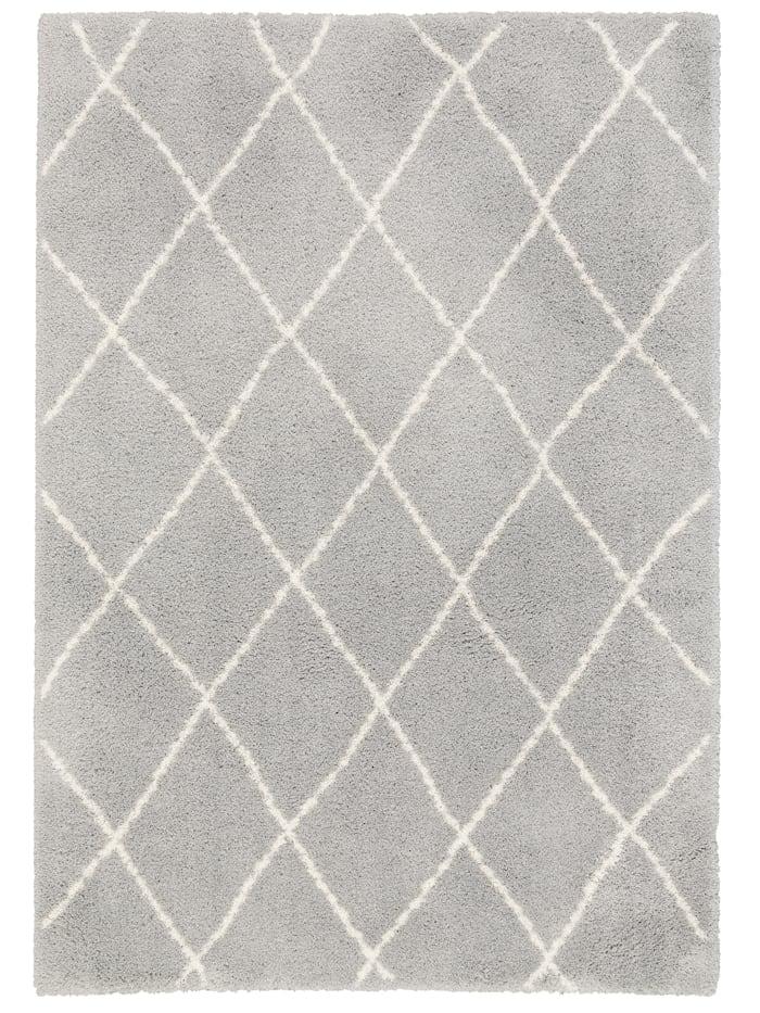 Pergamon Luxus Shaggy Teppich Silky Soft Modern Rauten, Grau