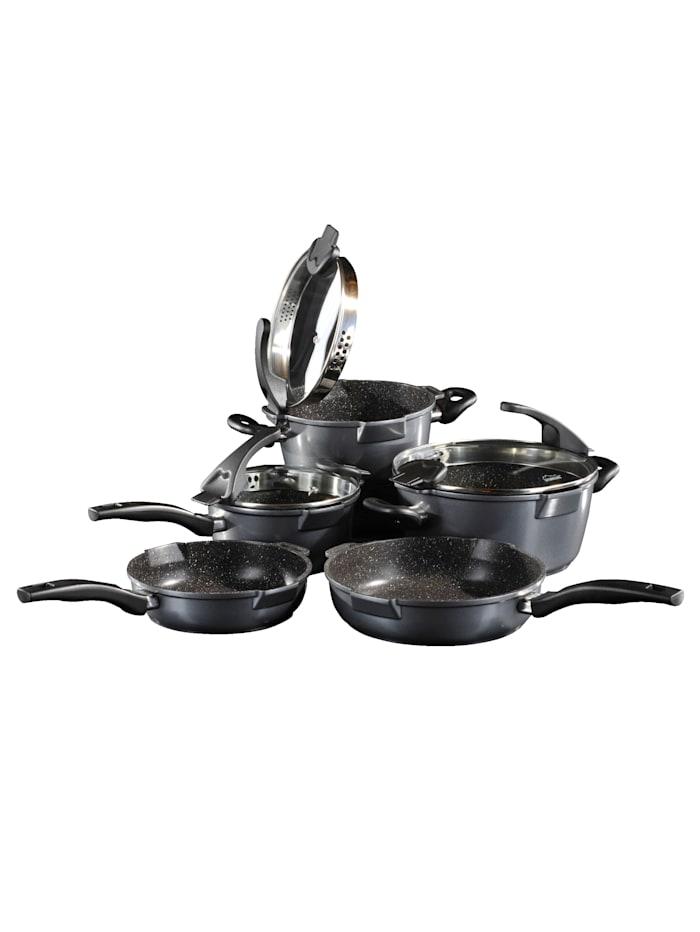 Stoneline 5-delige pannenset, grijs/zwart