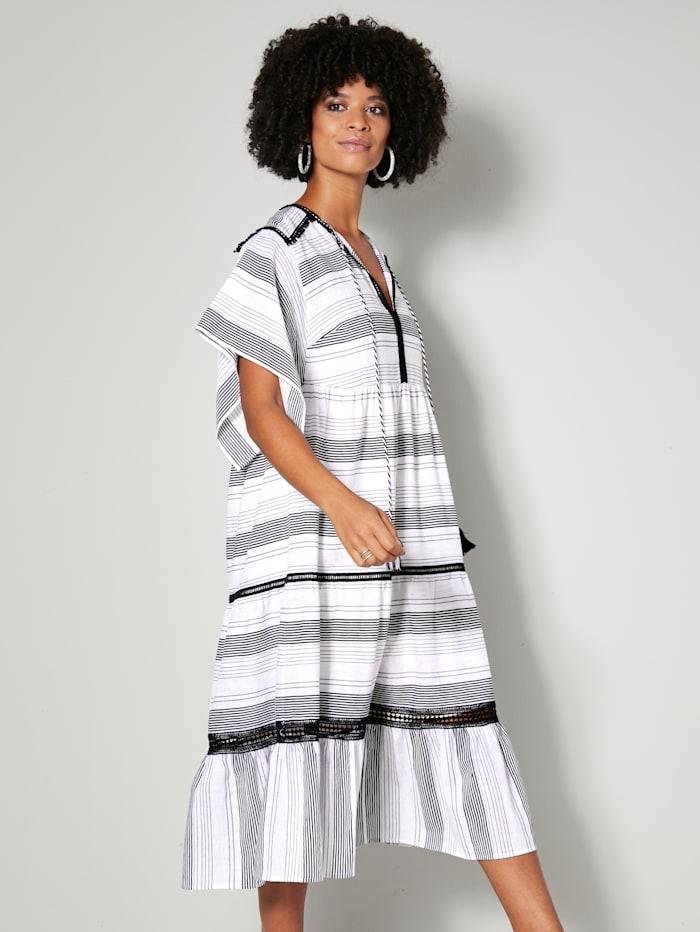 Angel of Style Šaty s háčkovanými detaily, Přírodní bílá/Černá