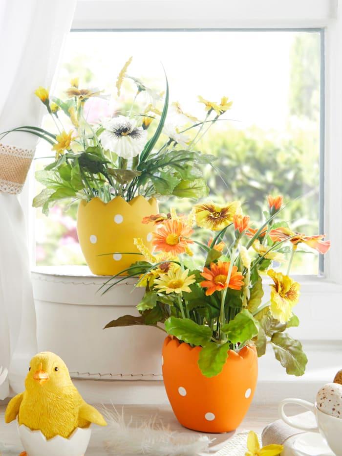 2er Set Frühlingsarrangement, gelb/orange