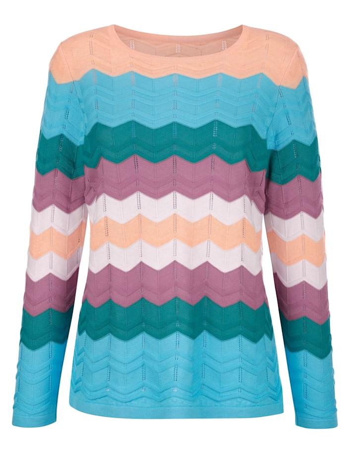 Pullover mit aufwendigem Ajourstrick im harmonischen Farben